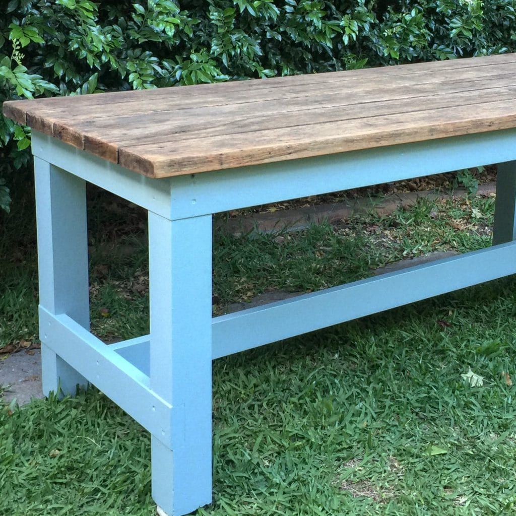 How to refurbish the legs of an old outdoor table.